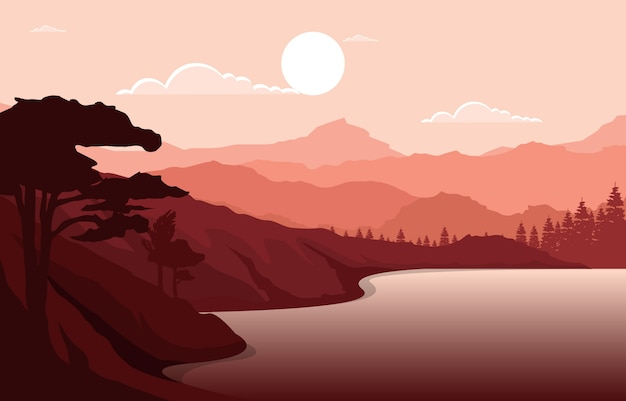 Sunrise sunset mountain forest wild nature landscape monochrome illustration