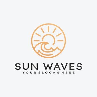 Sunrise, sunset and sea water logo