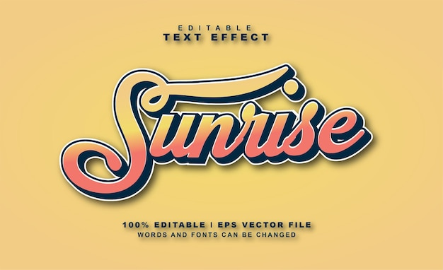 Sunrise text effect free vector