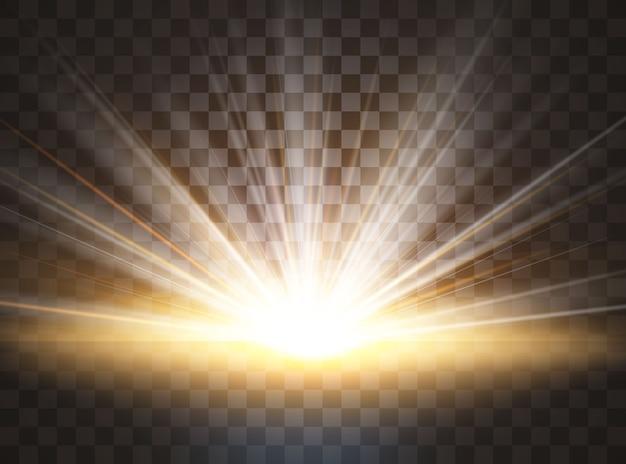 日の出、透明な日光。特殊レンズフレアライト効果。