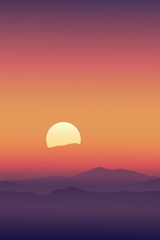 Восход солнца с линией неба в оранжево-желтый и горы силуэт