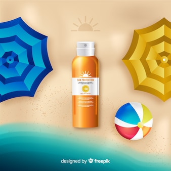 Sunscreen ad in realistic style