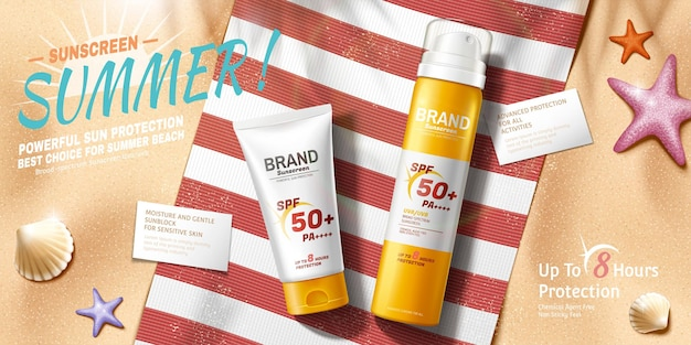 3d 그림, 위쪽 보기 각도에서 편안한 여름 해변 장면의 자외선 차단제 광고