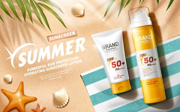 Sunscreen ads at relax summer beach scene in 3d illustration, top view angle
