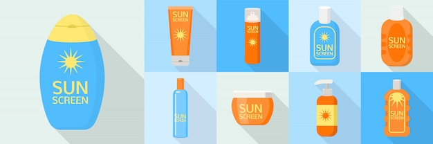 Sunscreen bottle icons set, flat style