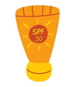 선크림 케어 선크림. spf가 포함된 자외선 차단제 튜브. 태양 안전. 피부 보호.