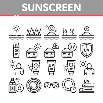 Sunscreen collection elements icons set