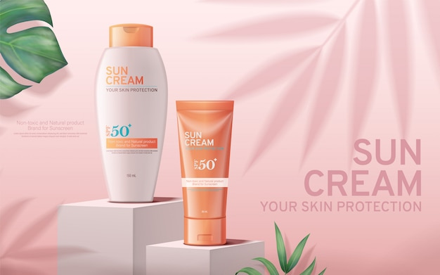 Sunscreen cream ads on square stage with tropical plants