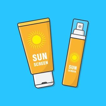 日焼け止めクリームのイラスト。日焼け止め化粧品。夏の休日の概念。日焼け止めローション。スキンケア Premiumベクター