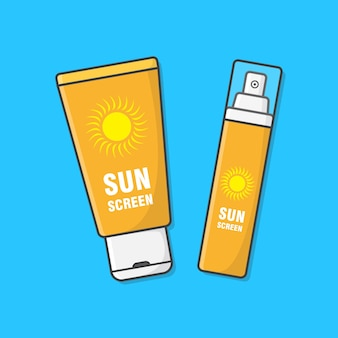 Sunscreen cream   illustration. sun protection cosmetic product. concept of summer holiday. sunblock lotions. skincare
