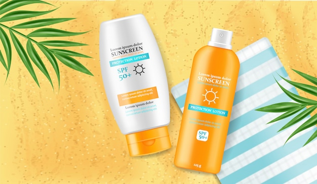 Sunscreen cream mock up illustration