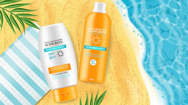 Sunscreen cream mock up illustrations