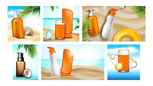 Рекламные плакаты солнцезащитного крема задать вектор. солнцезащитный крем для защиты кожи лосьон и гелевые пустые пакеты, натуральный кокос и скорлупа, коллекция рекламных баннеров. цвет концепции шаблон иллюстрации