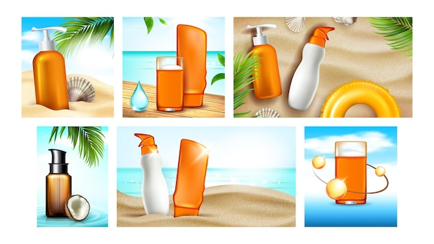 Sunscreen cream promotional posters set vector. sunscreen skin protection lotion and gel blank packages, natural coconut and shell, collection advertising banners. color concept template illustrations