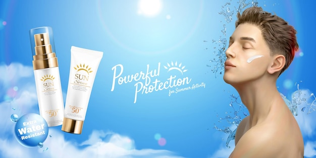 Sunscreen cream and spray ads on blue sky background with eye closed chin up man in 3d illustration