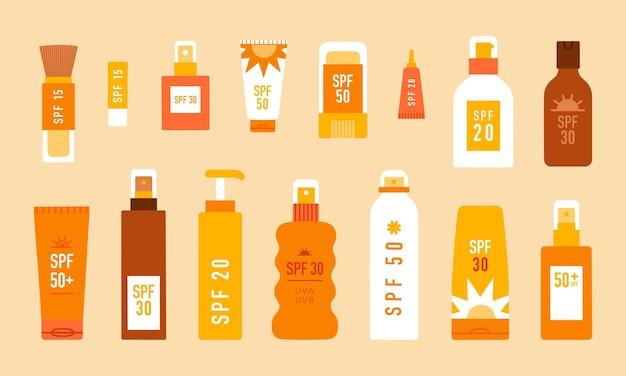 다양한 종류의 자외선 차단 화장품