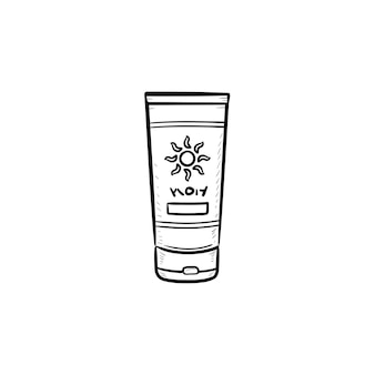 Sunscreen hand drawn outline doodle icon. sun protection cream tube, skin protection and sunbathing concept