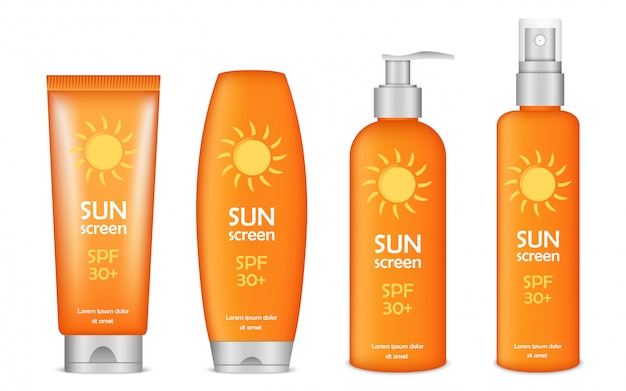 Sunscreen icon set