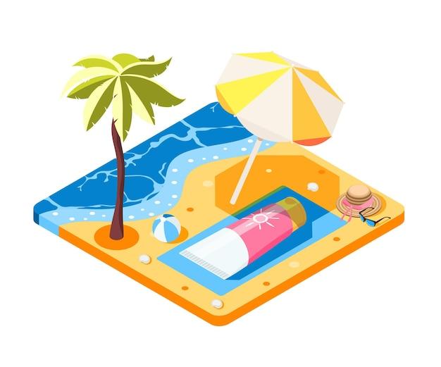 Composizione isometrica della protezione solare con l'immagine concettuale del tubo crema che pone sulla spiaggia sabbiosa con l'ombrellone