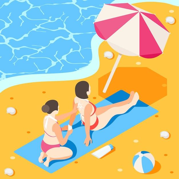 바다 해안 근처 비치 파라솔과 햇볕 크림을 적용하는 여성 캐릭터와 선 스크린 아이소 메트릭 구성