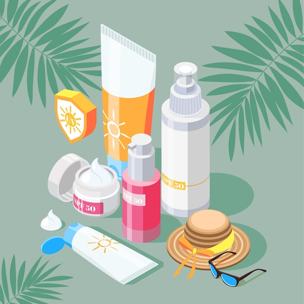 Sunscreen isometric composition with set of sun protection products creams and spray with hat and sunglasses