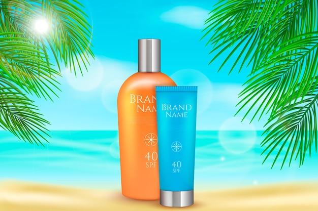 Солнцезащитный лосьон для летней рекламы