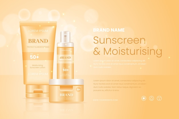 Sunscreen and moisturising cosmetic ad