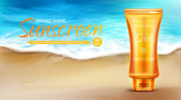 Sunscreen protection cosmetic ad banner, summer uv block cream tube stand on sand at coastline