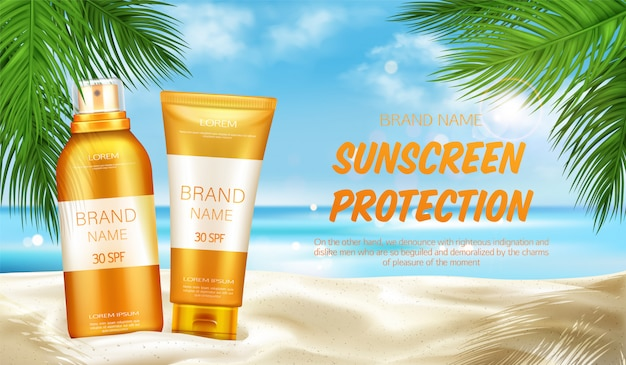 Sunscreen protection cosmetic, banner