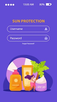 Sunscreen skin care flat app mobile with login fields and images of protective creams with text