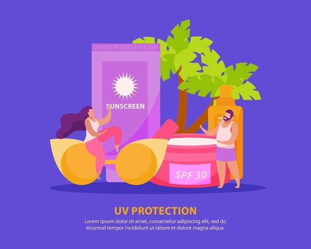 Composizione piatta per la cura della pelle solare con creme solari e occhiali da sole con personaggi umani scarabocchiati