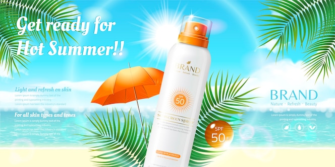 sunscreen spray ads on resort beach background in 3d illustration, palm tree leaves element
