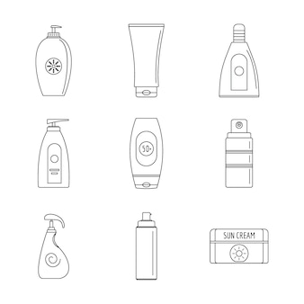 Sunscreen sun protect icons set