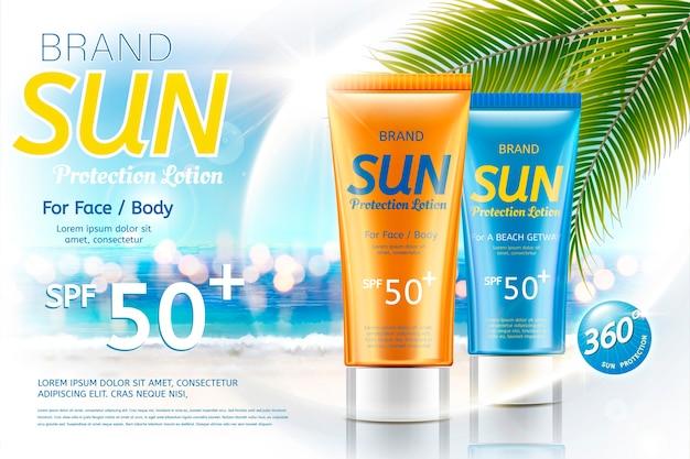 Sunscreen tube product on bokeh summer resort background
