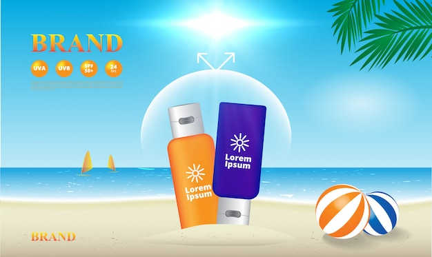 Sunscreen uv protection on the beach illustration, advertising template
