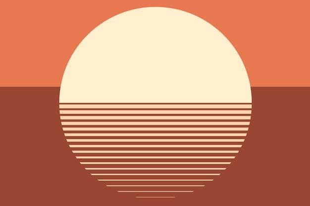 オレンジ色の夕日の美的背景ベクトル