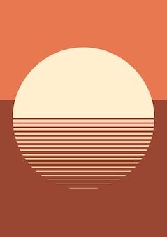 Закат эстетический фон вектор в оранжевом