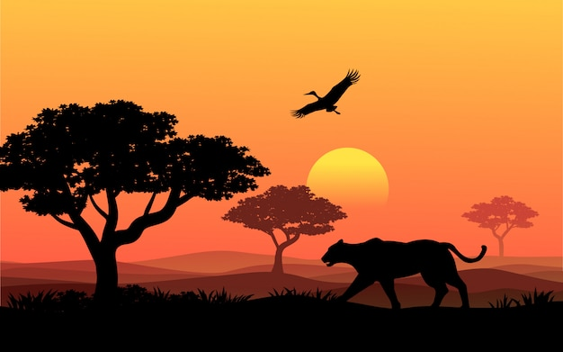 Sunset in africa with tiger and bird