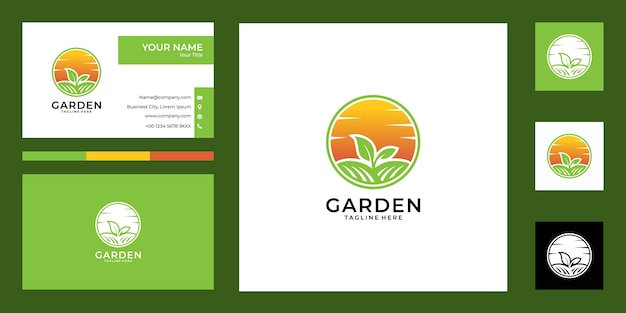 Дизайн логотипа заката и сада и визитная карточка, хорошее использование для логотипа фермы и ландшафта