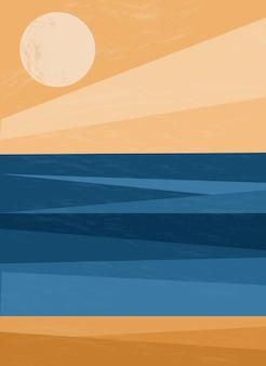 海の夕日と日の出水面砂浜海抽象的な熱帯の海岸線