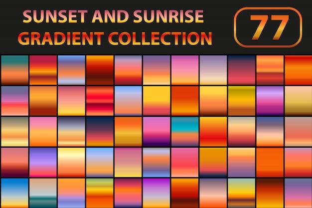 日没と日の出のグラデーションセット。空と大きなコレクションの抽象的な背景。図。