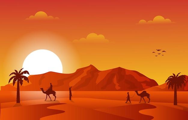 Закат арабской пустыни караван верблюдов мусульманской исламской культуры иллюстрация