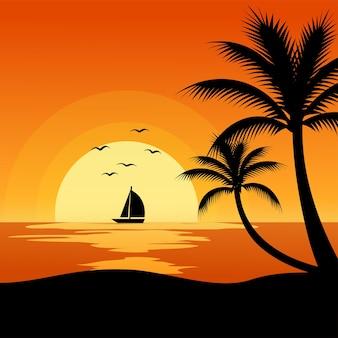 Закат на пляже с лодкой и пальмой