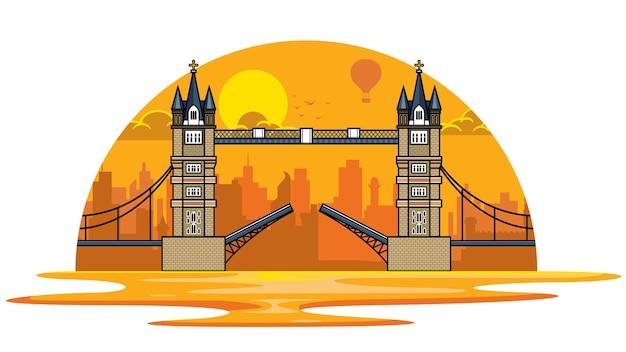 ロンドンのタワーブリッジに沈む夕日