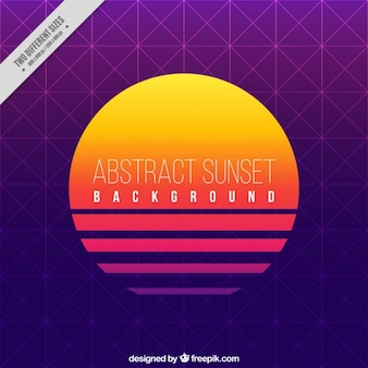 Sunset background with geometric shapes