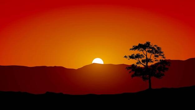 Закат фон с холмом и силуэт дерева
