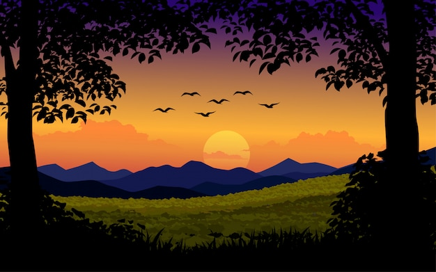 Sunset background with trees and birds