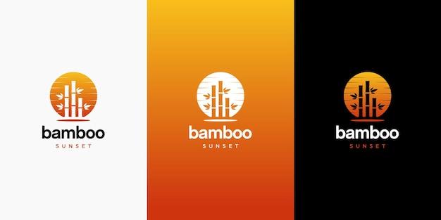 Закат бамбук дизайн логотипа
