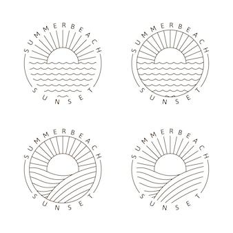 Закат пляж иллюстрации монолинии или вектор в стиле арт линии