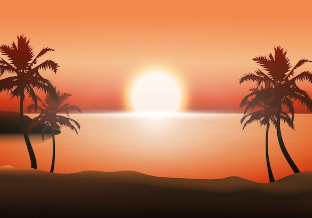Sunset beach landscape background. vector illustration. abstract background.